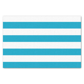 Bold Horizontal Teal and White Stripes Tissue Paper