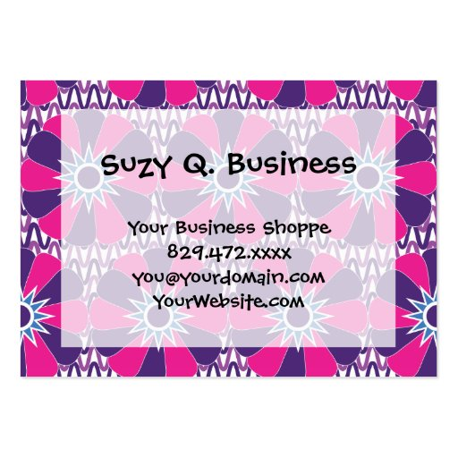 Bold Hot Pink and Purple Floral Pattern Business Card Templates