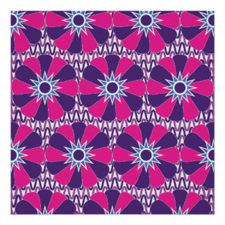 Bold Hot Pink and Purple Floral Pattern Print