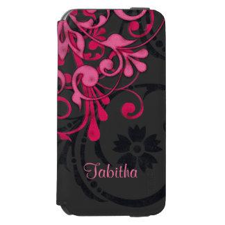 Bold Hot Pink Black Elegant Floral Incipio Watson™ iPhone 6 Wallet Case