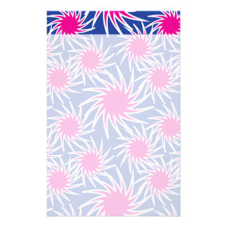 Bold Hot Pink Blue Spiraling Wheels Funky Pattern Custom Stationery