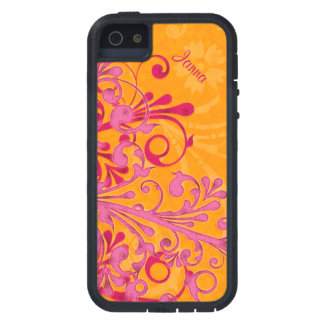 Bold Hot Pink Orange Elegant Floral iPhone 5 Tough iPhone 5 Covers