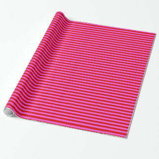Bold Hot Pink, Red Stripe Pattern Wrapping Paper