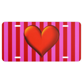 Bold Hot Pink, Red Stripes, Red Metallic Heart License Plate