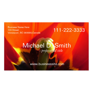 Bold, impressive red tulip flower full information business card template