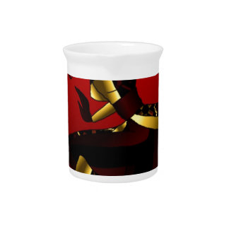 Bold In Red and Gold Pitcher
