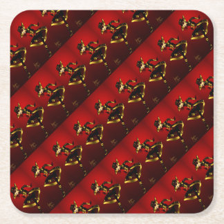 Bold In Red and Gold Square Paper Coaster