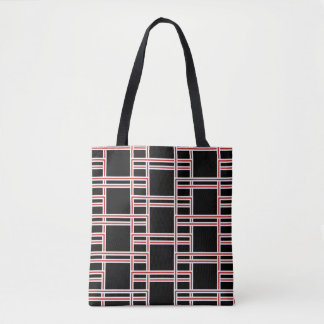 Bold Interlocking Red and White Rectangle Pattern Tote Bag