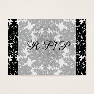 bold intricate black damask on white business card