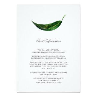 Bold Leaves Guest Information Card / Dark Green