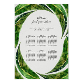 """Bold Leaves Seating Chart / Light / 15"""" x 21"""" Poster"""
