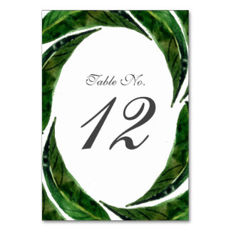 Bold Leaves Table Number Card | Dark Green