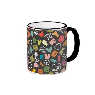 Bold Letters Cartoon Shapes Coffee Mug