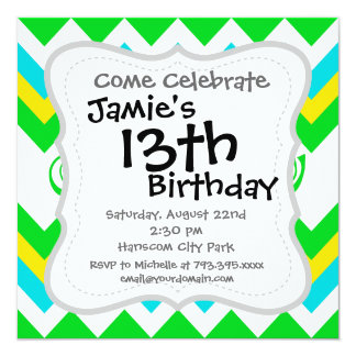 Bold Lime Teal Yellow Chevron with Stars and Swirl 13 Cm X 13 Cm Square Invitation Card