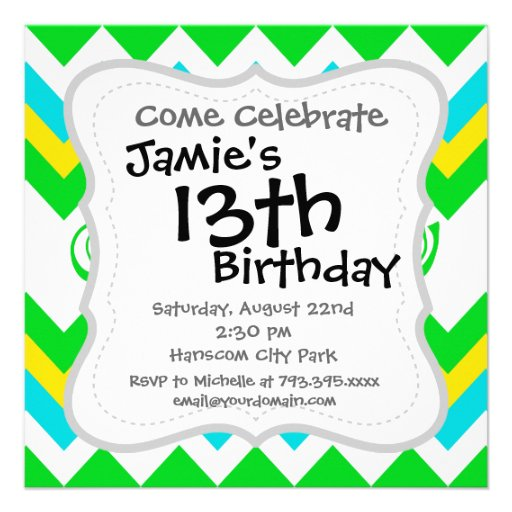 Bold Lime Teal Yellow Chevron with Stars and Swirl Custom Invites