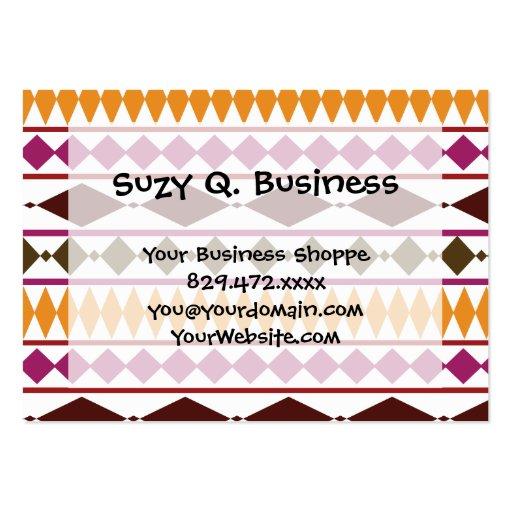 Bold Magenta Rust Tribal Geometric Pattern Business Cards