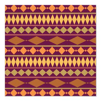 "Bold Magenta Rust Tribal Geometric Pattern 5.25"" Square Invitation Card"