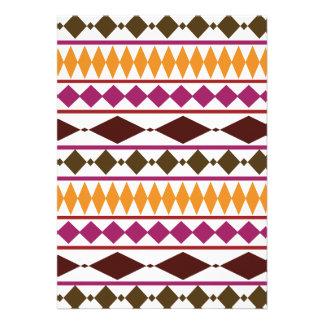 Bold Magenta Rust Tribal Geometric Pattern Personalized Invite