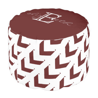 Bold Maroon & White Chevron, personalized Pouf