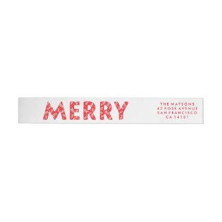 Bold Merry Holiday Wraparound Label Wraparound Return Address Label