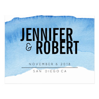 Bold Minimal BLUE watercolor BLACK SAVE THE DATE Postcard