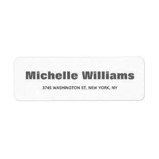 Bold Minimalist Professional Modern Elegant Return Address Label