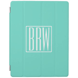 Bold Modern 3 Initials Monogram | White On Aqua iPad Smart Cover