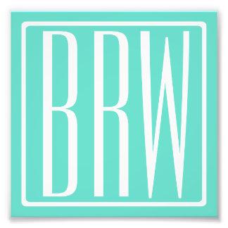Bold Modern 3 Initials Monogram | White On Aqua Photo Print