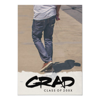 Bold Modern Black Text Boy Graduation Party Photo 13 Cm X 18 Cm Invitation Card