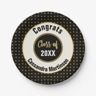 Bold Modern Black White Gold Graduation Party Paper Plate