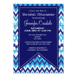 Bold Modern Blue Chevron Bridal Shower Invitations