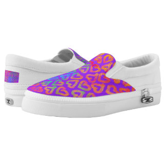 Bold Modern Colorful Hearts Pattern on Purple Slip On Shoes
