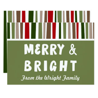 Bold Modern Colorful Merry & Bright, Personalized Card