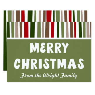 Bold Modern Colorful Merry Christmas, Personalized Card