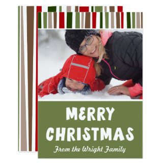 Bold Modern Colorful Merry Christmas, Your Photo Card