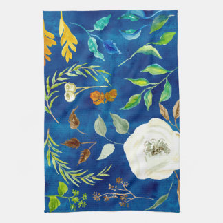 Bold Modern Fall Leaf Floral Acorn Seed Watercolor Tea Towel