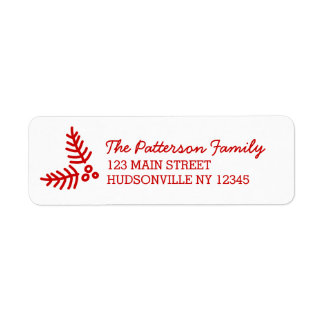 Bold Modern Festive Red & White Holiday Return Address Label