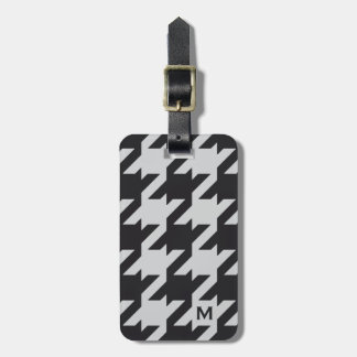 Bold modern grey black houndstooth with monogram luggage tag