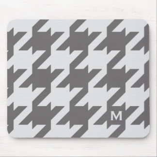 Bold modern grey houndstooth with monogram mouse pad