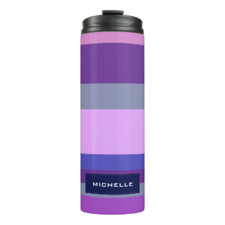 Bold Modern Pink Violet Blue Stripes Personalized Thermal Tumbler