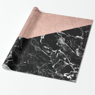 Bold modern rose gold black marble color block
