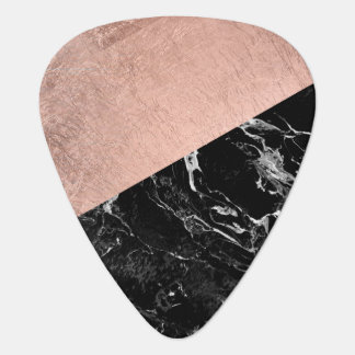 Bold modern rose gold black marble color block guitar pick