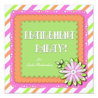 Bold Modern Spring Floral Stripe Retirement Party 13 Cm X 13 Cm Square Invitation Card