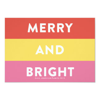 Bold Modern Stripes Holiday Card Merry and Bright