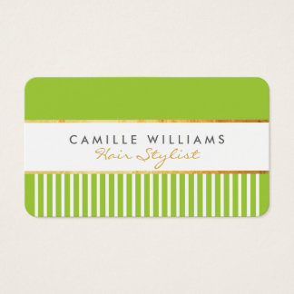 BOLD modern stylish comb design gold lime green Business Card