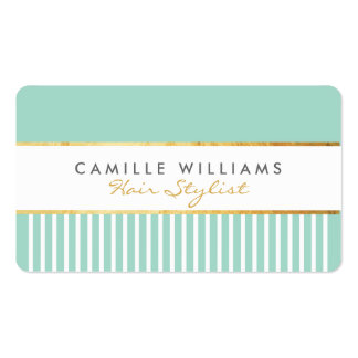 BOLD modern stylish comb design gold mint green Pack Of Standard Business Cards