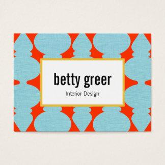 Bold Modern Turquoise Pattern Interior Designer Business Card