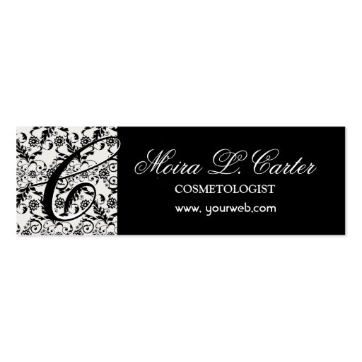 Bold Monogram and Damask Lace Business Cards