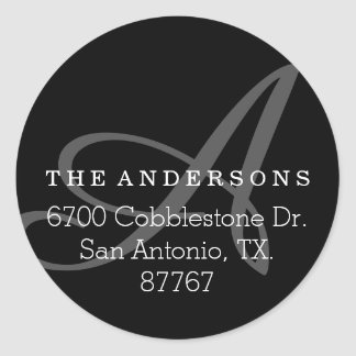 Bold Monogram Black Address Label Round Sticker