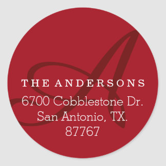 Bold Monogram Cherry Address Label Round Sticker